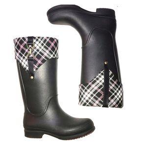 Croc Rainboot Wellies Plaid & Black